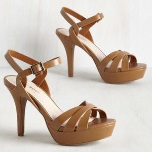 Bamboo Caramel Brown Ankle Strap Platform Sandals